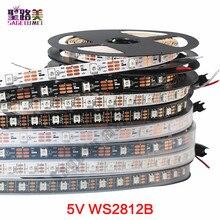 1m 5m DC5V WS2812B WS2812 Led bande de pixels individuellement adressable Smart RGB Led bande de lumière noir blanc PCB IP30/65/67
