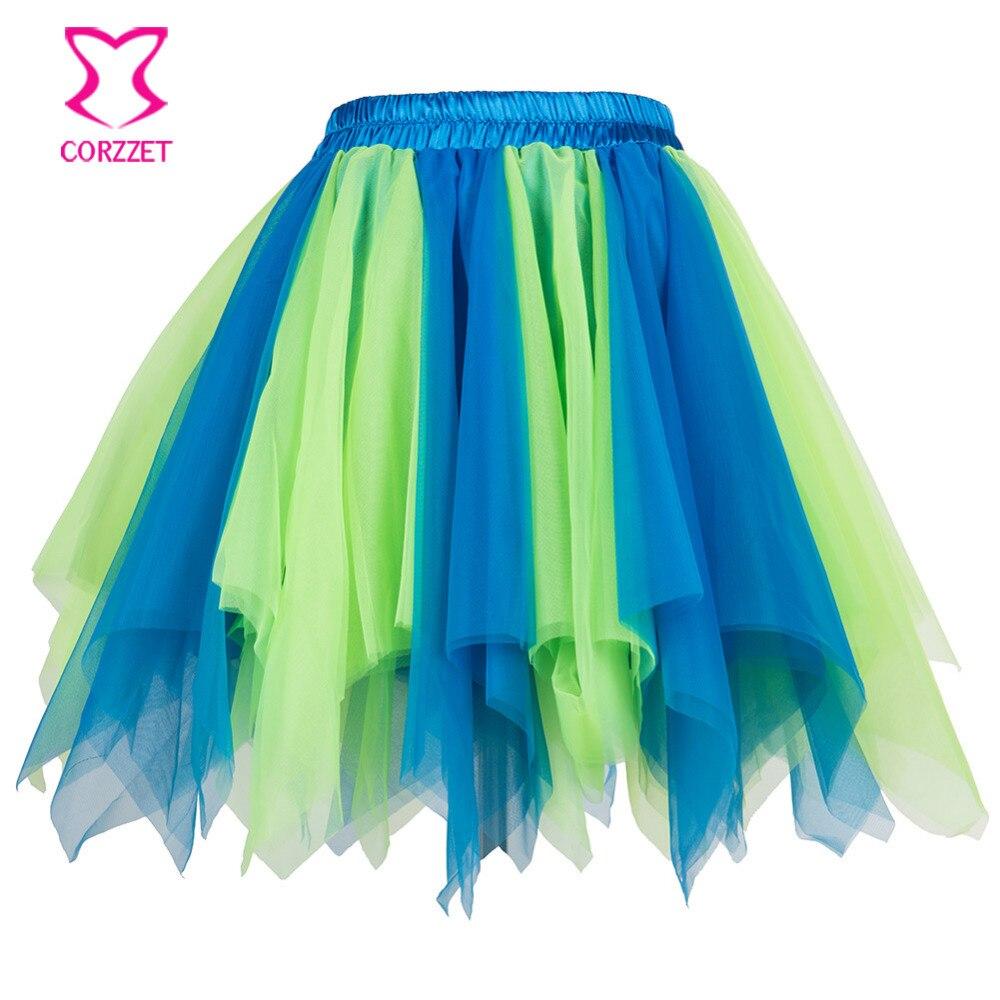 Blue Green Layered Ruffle Mesh Tulle Skirt Women Adult Sexy Clubwear Burlesque Costume Petticoat Gothic Corset Skirts Womens