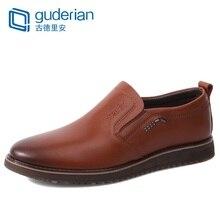GUDERIAN Mens Formal Shoes Genuine Leather Slip On Business Flat Loafer Shoes Man Oxford Elegant Men Dress Shoes Hombres Zapatos