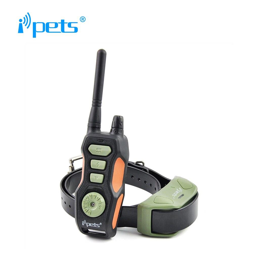 Ipets 618-1 collar de corteza de perro recargable e impermeable/collar de entrenamiento/collar de choque con rango de 800