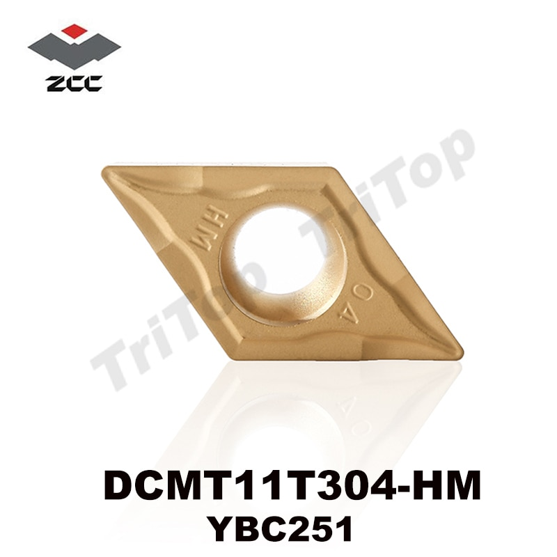 Herramienta ORIGINAL ZCC DCMT 11T304 HM YBC251 (10 insertos/caja) ZCC. CT herramienta de corte de carburo cementado insertos de torneado DCMT11T304