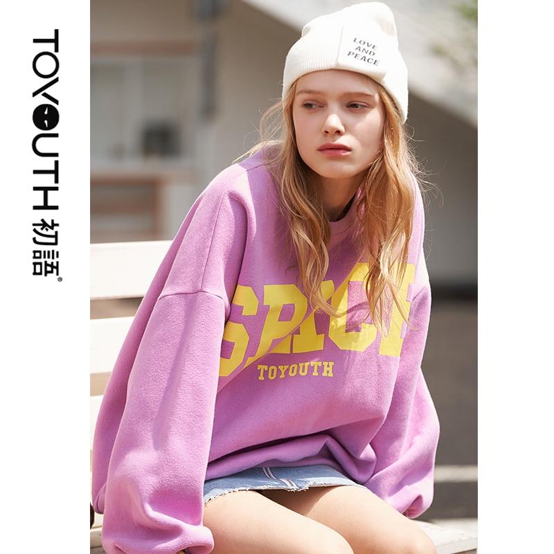 Toyouth Winter Pullover Sweatshirts Womens Harajuku Oversized Sweatshirt Loose O Neck Long Sleeve Letter Top Streetwear Top
