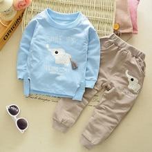 2018 New Fashion Baby Clothing Set Boys Girls Hooded Pant 2Pcs Cute Cartoon Animals Print Children Clothing Set