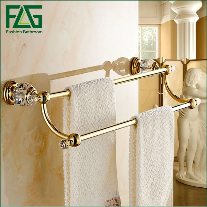 Free Shipping Brass & Crystal Made,PVD-Ti Gold, Towel Bar,Towel Holder, Rack ,Solid