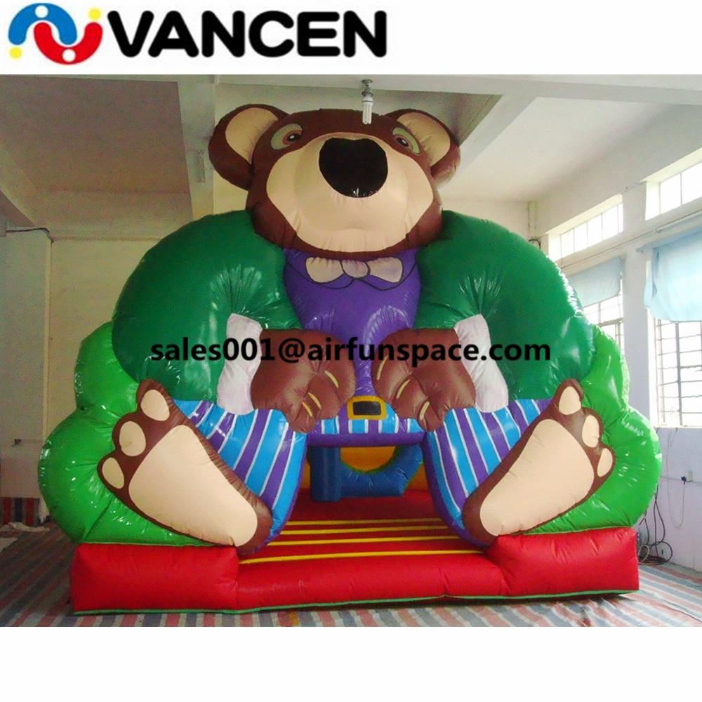 Castillo hinchable atractivo para saltar, modelo de oso de 5*5m, Castillo que rebota, juego inflable barato para saltar con forma de animales para niños