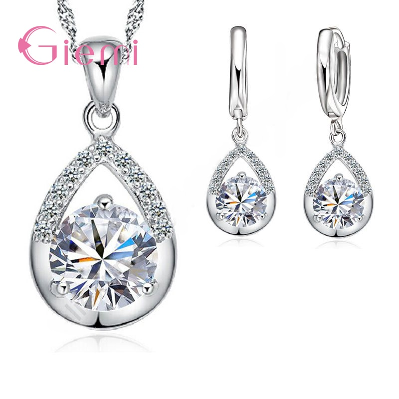 925 Sterling Silver Bridal Jewelry Set Necklace Earrings Women Engagement Romantic Style Water Drop Austrian Crystal