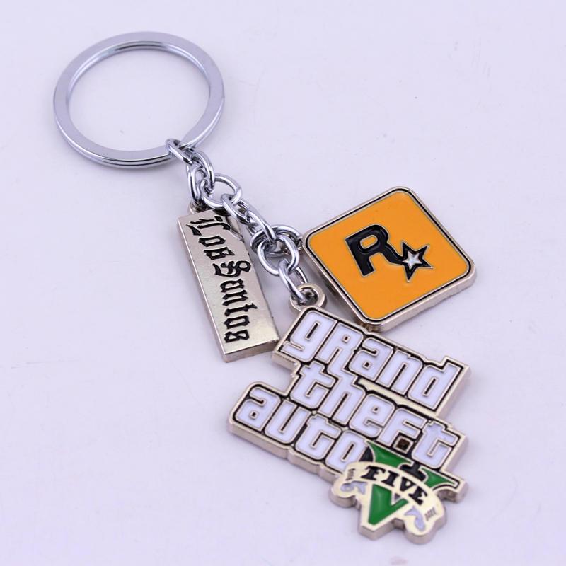 PS4 XBOX Hot Rockstars Games KeyChain брелок Grand Theft Auto V Five Key Chain GTA Car llavero Key Ring For Women Men