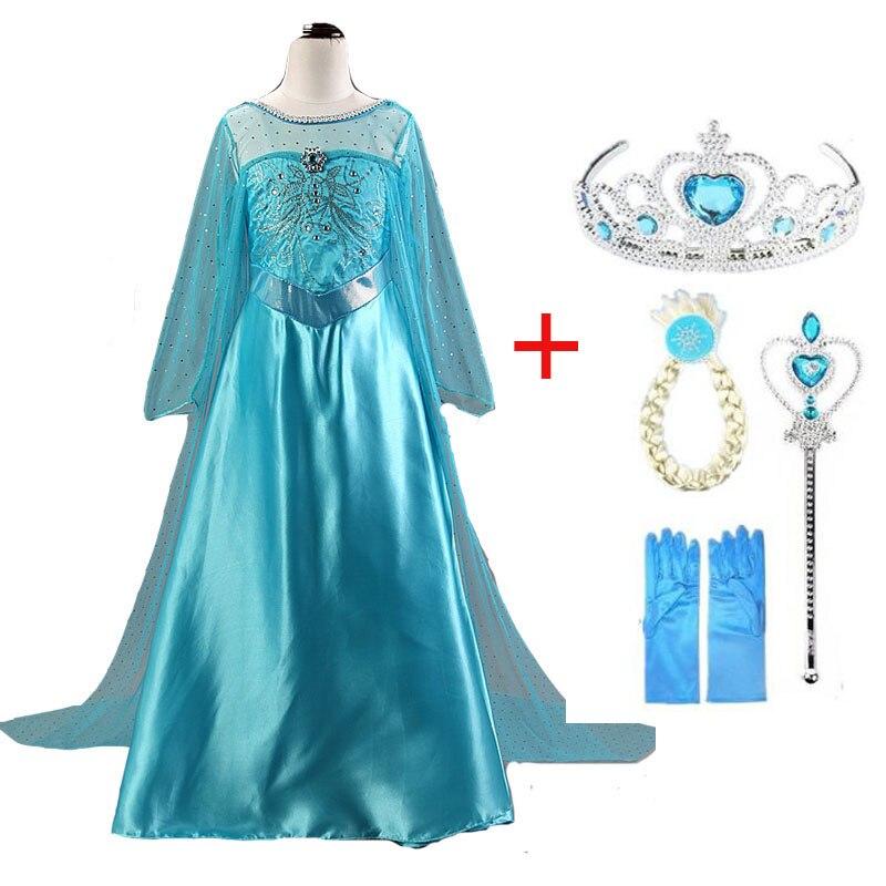 Платье Эльзы; костюмы на Хэллоуин для девочек; карнавальный костюм Эльзы и Анны; Детские платья принцессы; Fantasia Infantil Vestido Roupa для детей