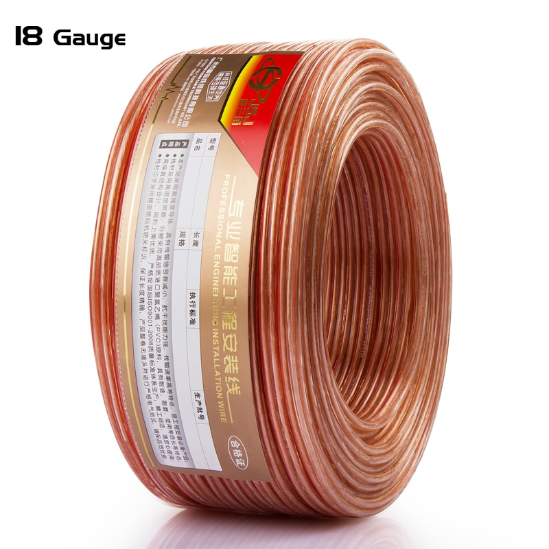 18GA Loud Speaker Wire 2*0.80mm DIY HIFI OFC Transparent audio line for Home theater DJ System high