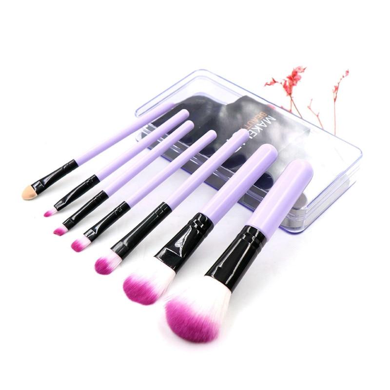 7 pçs pincéis de maquiagem coloridos conjunto cosméticos fundação pó sombra pincéis de maquiagem com plástico encaixotado kit de ferramentas de beleza cosmética