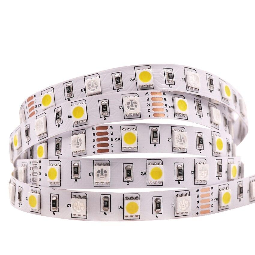 DC12V 5m 5050 LED Strip Flexible Led Light RGBW RGB+White / Warm White Colorful Lights 300LEDs 60Leds/m 5m/lot