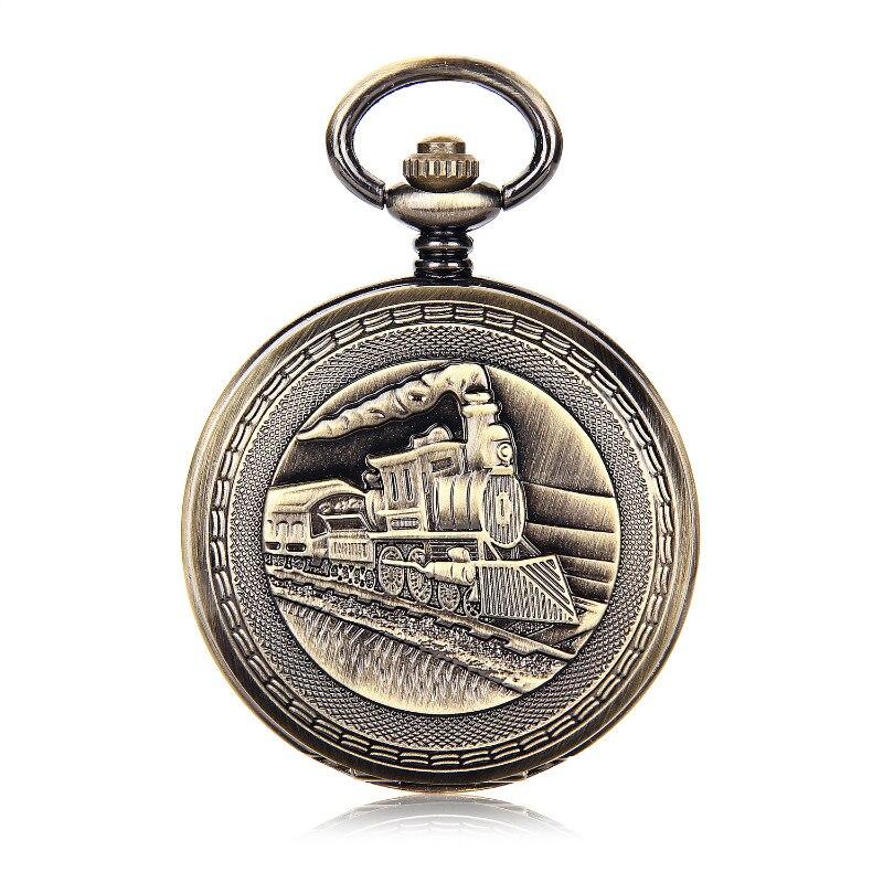 SHUHANG marca Retro tren de los hombres Número romano Dial cuerda a mano Reloj de bolsillo mecánico doble caja abierta