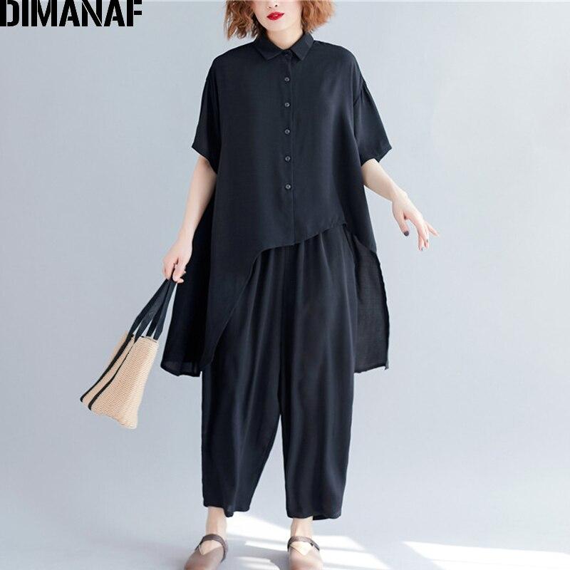 DIMANAF أطقم نسائية صيفية غير رسمية قطع علوية للسيدات قمصان فضفاضة كبيرة الحجم مجموعات سراويل طويلة بدلة من الكتان بلون أسود 2021 مقاس كبير