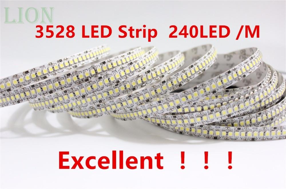 1/2/3/4/5 M 12V IP20 no impermeable 3528 LED tira 240 led luz Flexible 5 M/carrete escaparate led más brillante tira de LED blanca