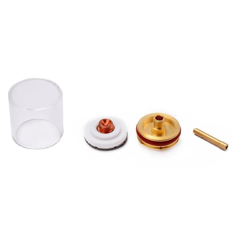 5 pièces Kit disolateur de lentille de gaz de Collet de tasse en verre de buse de torche de soudure réglé pour le WP-9 de Tig/20/25 3/32