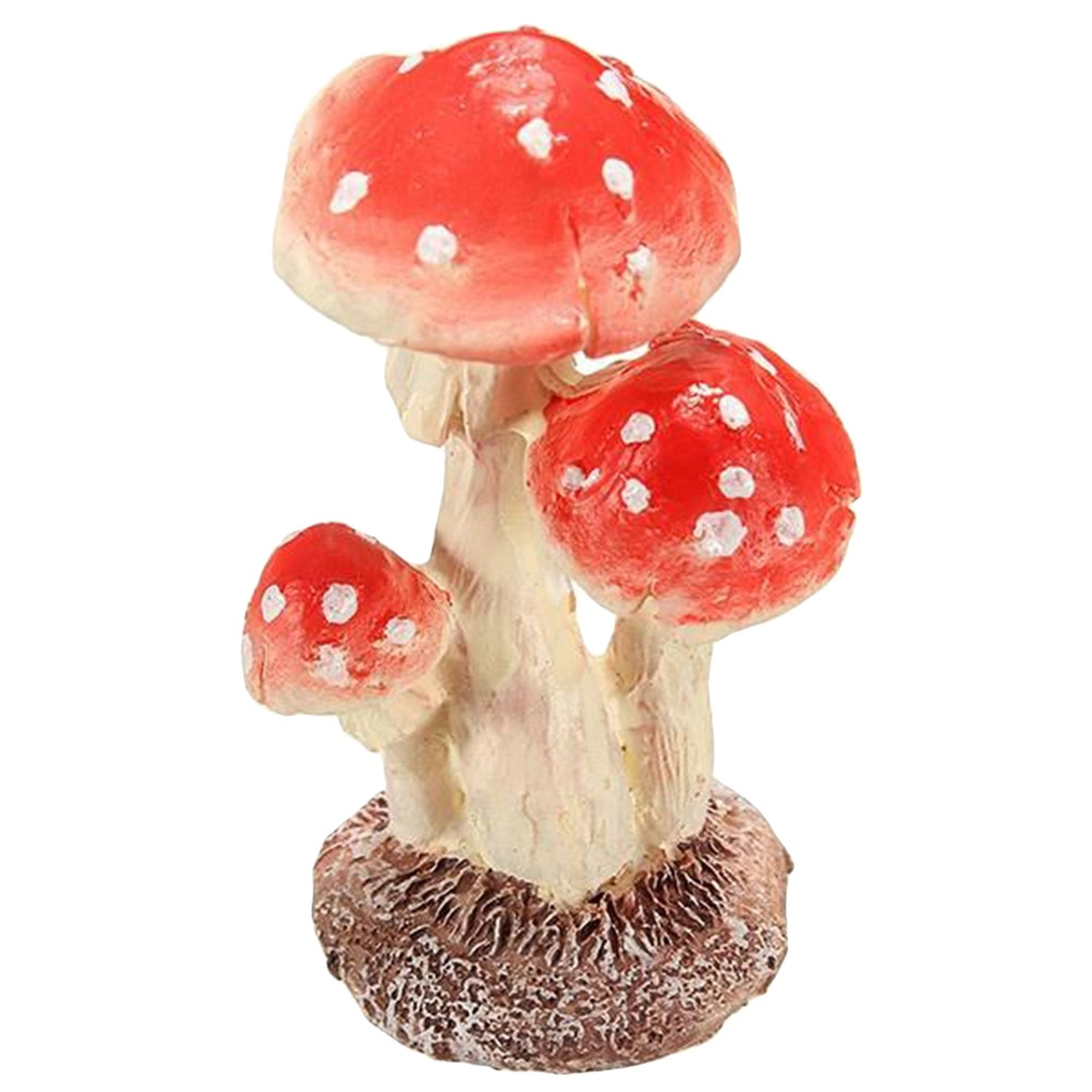 3 cabeza de hongo rojo Toadstool miniatura Terrario de jardín de hadas figurita decoración de casa de muñecas