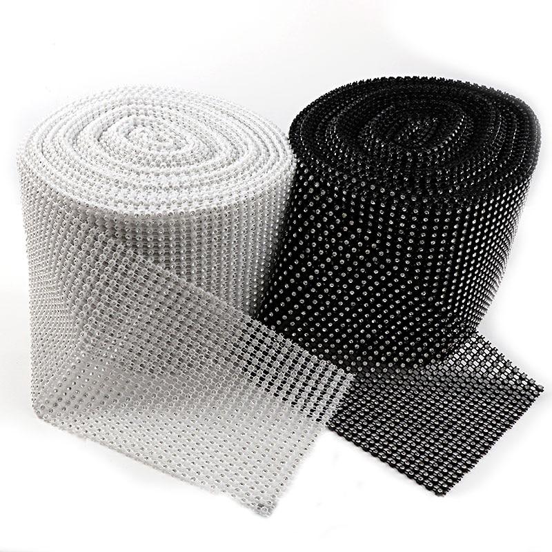 24 Rows 10 Yard 3mm Black/White Rhinestone Mesh Trim (With Rhinestone) ABS Plastic Sew On For DIY Craft Jewelry Decoration