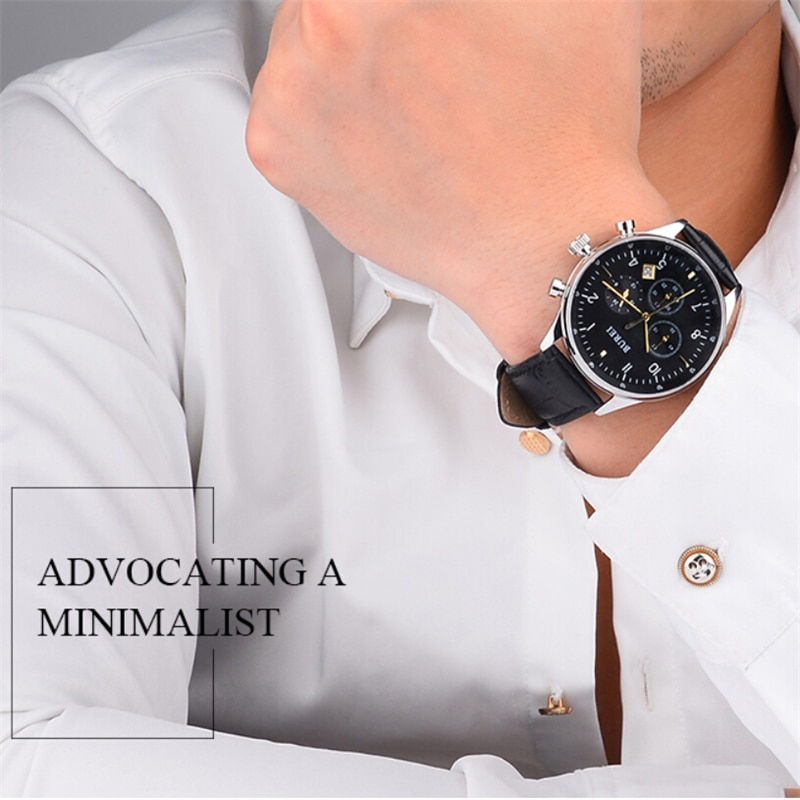 BUREI Brand Fashion Business Quartz Wrist Watch Man Luxury Waterproof Chronograph Calendar Casual Wristwatches Relogio Masculino enlarge