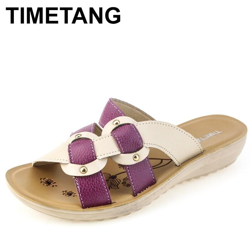 TIMETANG, novedad de verano, fondo suave, zapatillas de moda, sandalias antideslizantes para mujer, de mediana edad, de gran tamaño, planas con cómodas zapatillas