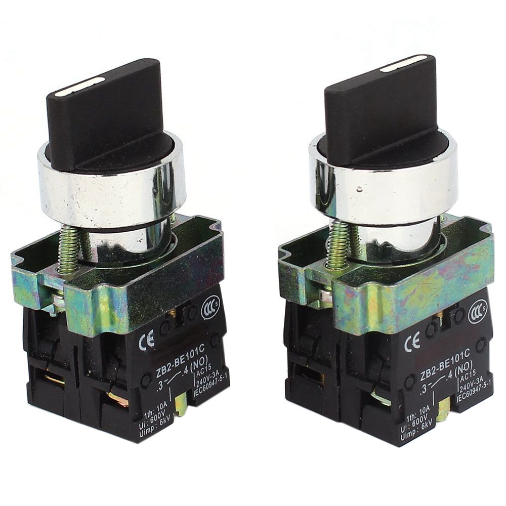 2 uds 2NO DPST 3 posiciones con interruptor Selector giratorio 600V 10A