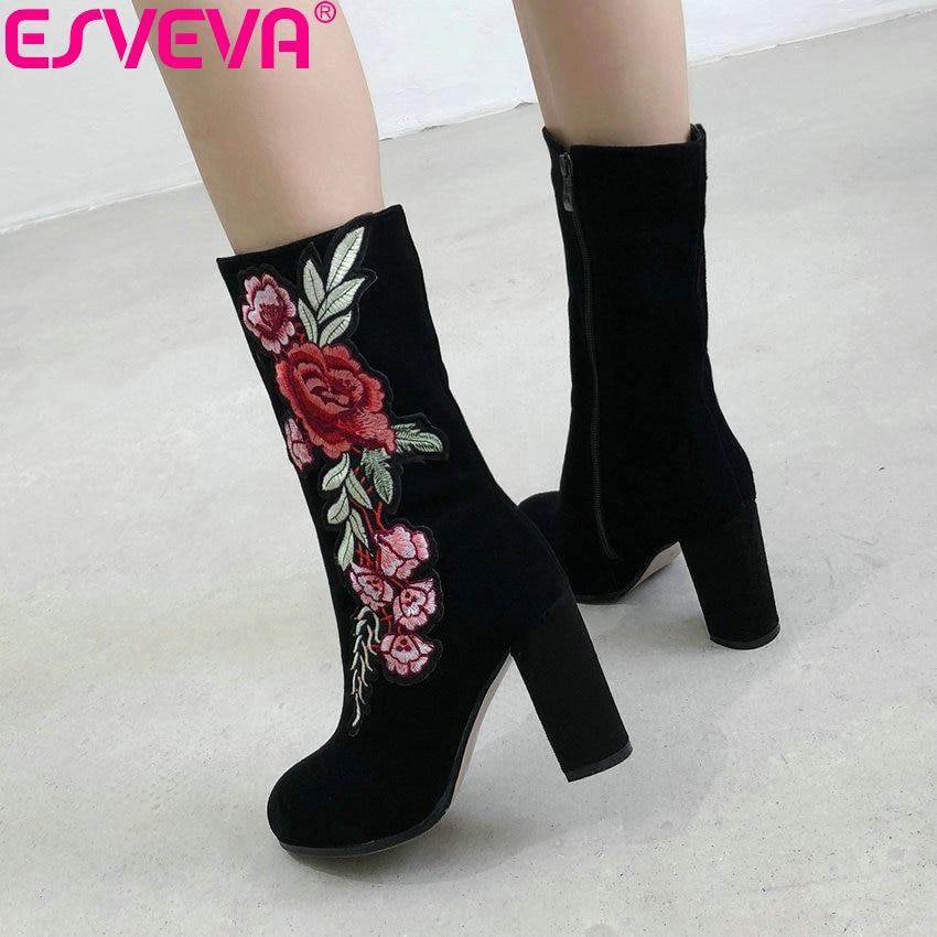 ESVEVA 2019, botas de mujer, botas de invierno de tacón cuadrado con bordado de viento antiguo, botas de mujer a media pantorrilla, zapatos de tacón alto con punta redonda 34-43
