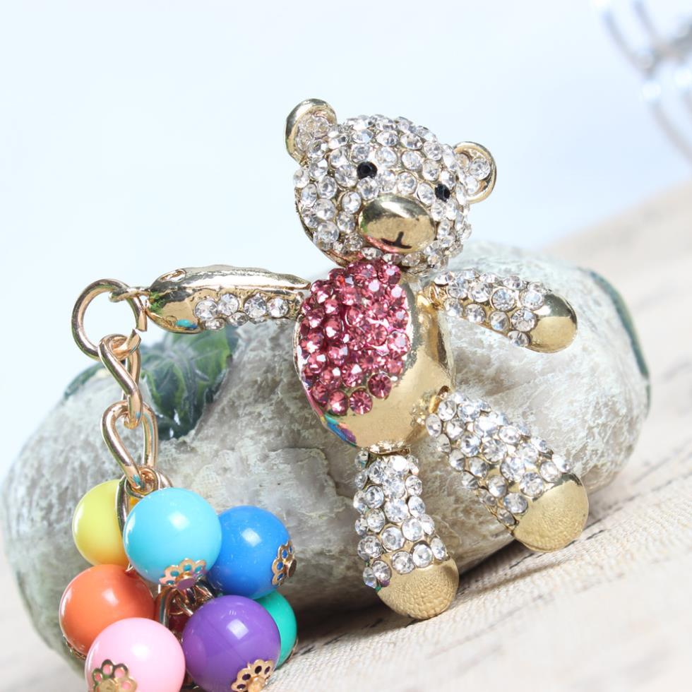 Oso Rosa caliente llavero brazo Move Bead perla globo linda de diamantes de cristal monedero bolsa coche llavero cumpleaños fiesta regalo de boda