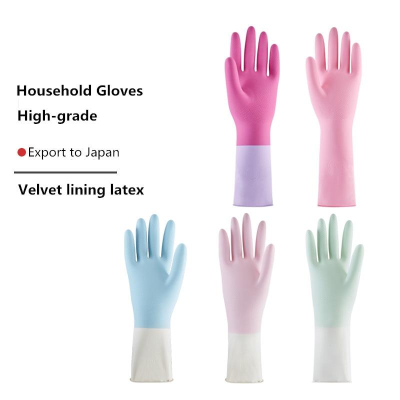 2 pary długie rękawice gumowe do zmywania naczyń rękawiczki do sprzątania aksamitna wyściółka lateksowe mycie czyszczenie rękawice ogrodowe grube