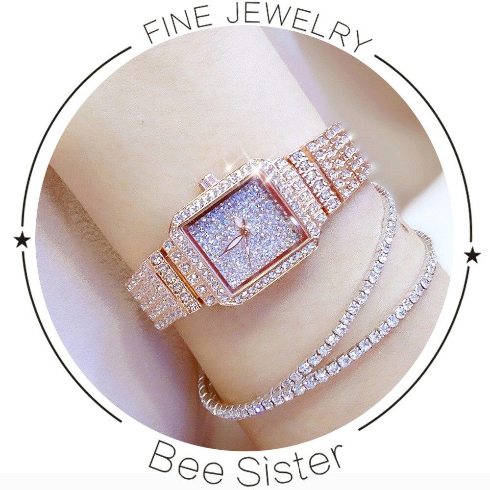 BS брендовые роскошные женские кварцевые часы с бриллиантами, ЖЕНСКИЕ НАРЯДНЫЕ часы со стразами и кристаллами золотого цвета, женские часы ...