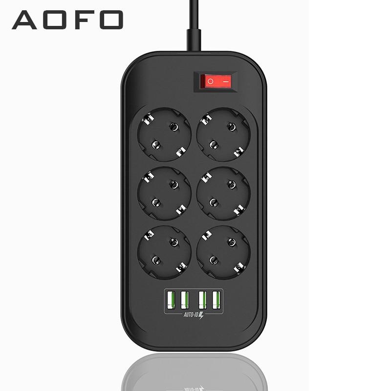 Удлинитель с USB, 6 розеток переменного тока, 4 usb-порта, защита от перегрузки и перенапряжения, удлинитель-2 м