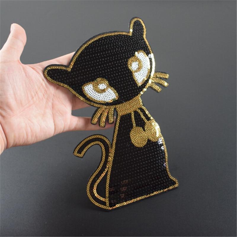 Ropa mujer camisa Top Diy Animal parche gato negro lentejuelas trato con él camiseta niñas hierro en parches para ropa pegatinas