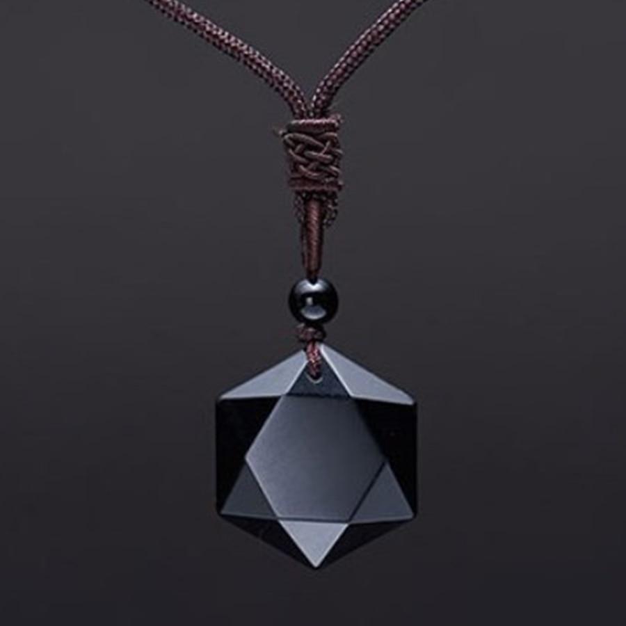 Drop Verschiffen Schwarz Obsidian Anhänger Halsketten Obsidian Stern von RongDe Anhänger Glück Liebe Kristall Schmuck Mit Kostenloser Seil Geschenke