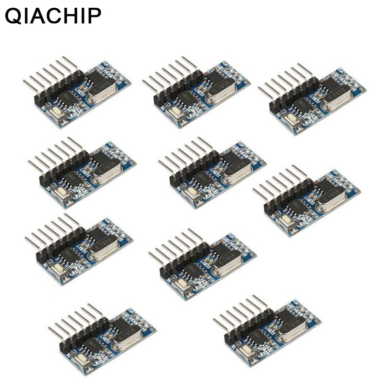 QIACHIP 4CH 10 PCS 433 Mhz Interruptor de Controle Remoto Sem Fio RF Receptor Relé 1527 Módulo de Codificação De Aprendizagem Para A Luz Diy kit
