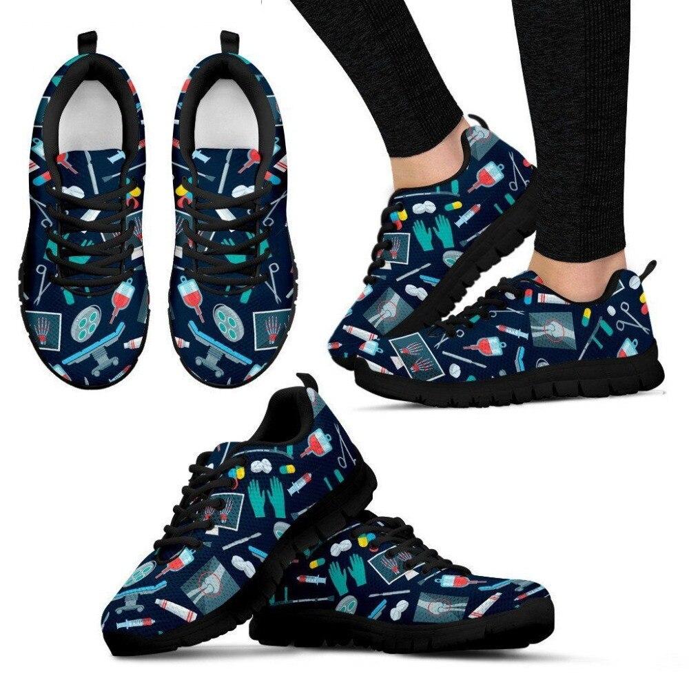INSTANTARTS Women Surgeon Flats Shoes Casual Female Air Mesh Flats 3D Doctor Nurse Bear Print Women's Lace Up Sneakers Zapatilla