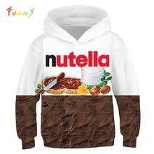 3D Druck Nutella Lebensmittel Huhn Pizza Mädchen Jungen Hoodies Kinder Mit Kapuze Sweatshirts Kleidung 2019 Herbst Langarm Pullover Tops Teen
