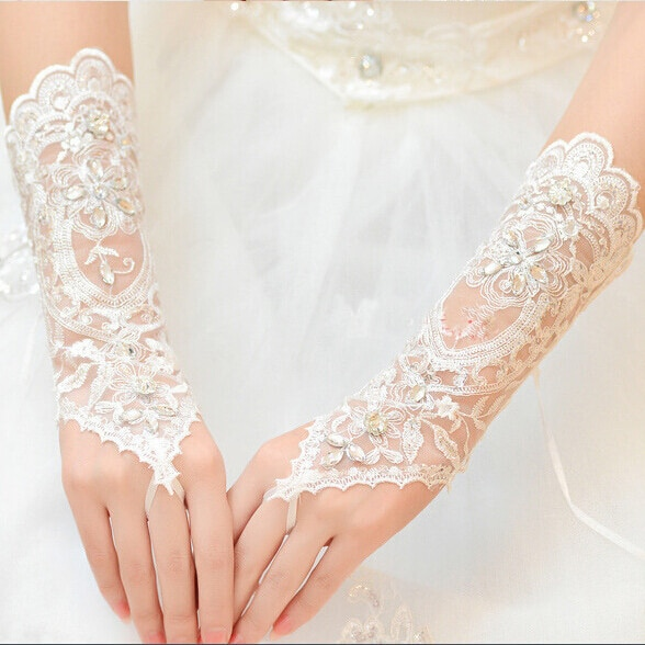 Hot Sale Fingerless Wedding Gloves New Bridal with Beads Dress Elegant Stock White/Ivory Accessories