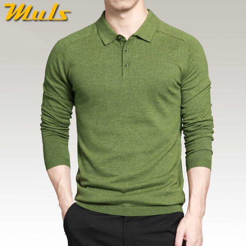 Suéteres de estilo polo para hombre, 8 colores, estilo Simple, algodón tejido, manga larga, jerséis, tallas grandes 3XL 4XL, primavera Otoño, marca MS16005