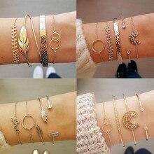 DIEZI, 10 pulseras de cadena con dije triangular de Cactus anudado estilo Retro para mujer, cadena de color dorado Vintage, pulseras, brazaletes, joyería