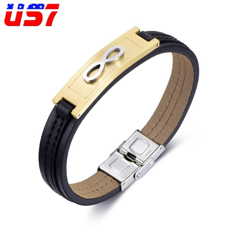 US7 símbolo infinito de acero inoxidable pulsera de cuero genuino envoltura Vintage Tribal trenzado pulseras brazaletes para hombres joyería