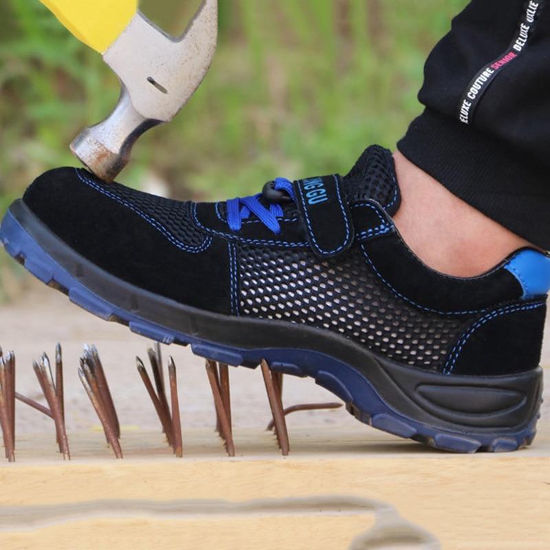 Sandalias de seguridad de verano YD-EVER zapatos de malla transpirable para hombre Zapatos de seguridad de trabajo talla grande negro botas de seguridad para hombres