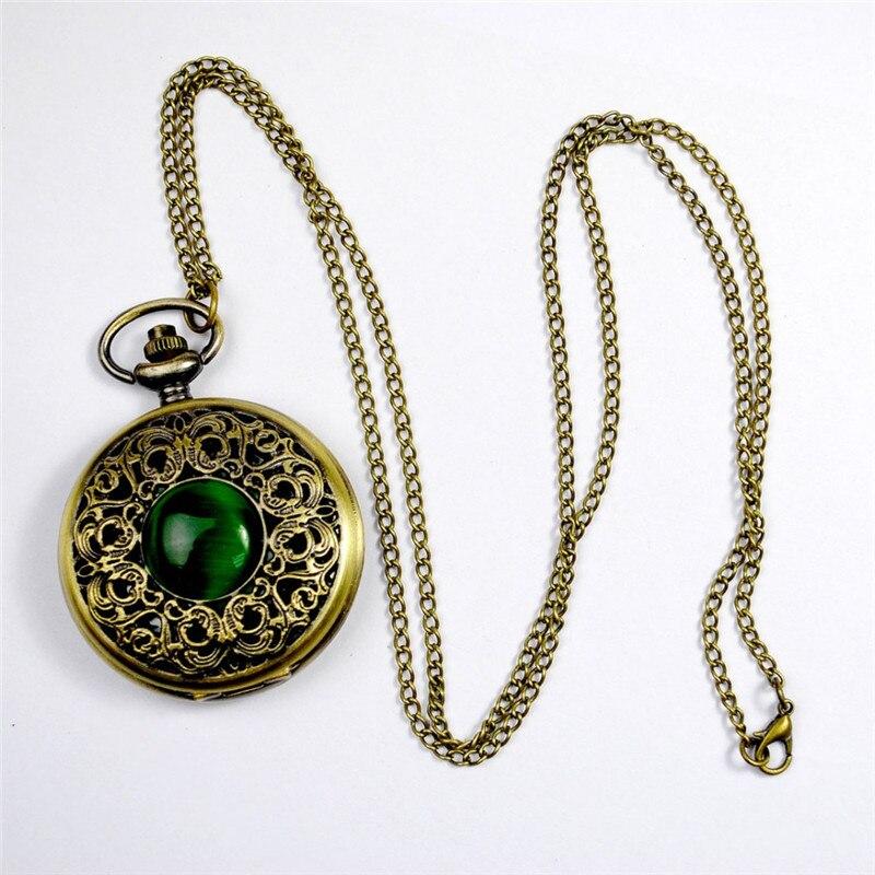 Mode Quartz montre de poche grand creux émeraude pierre Vintage collier pendentif Fob montres horloge chaîne pour hommes femmes cadeaux