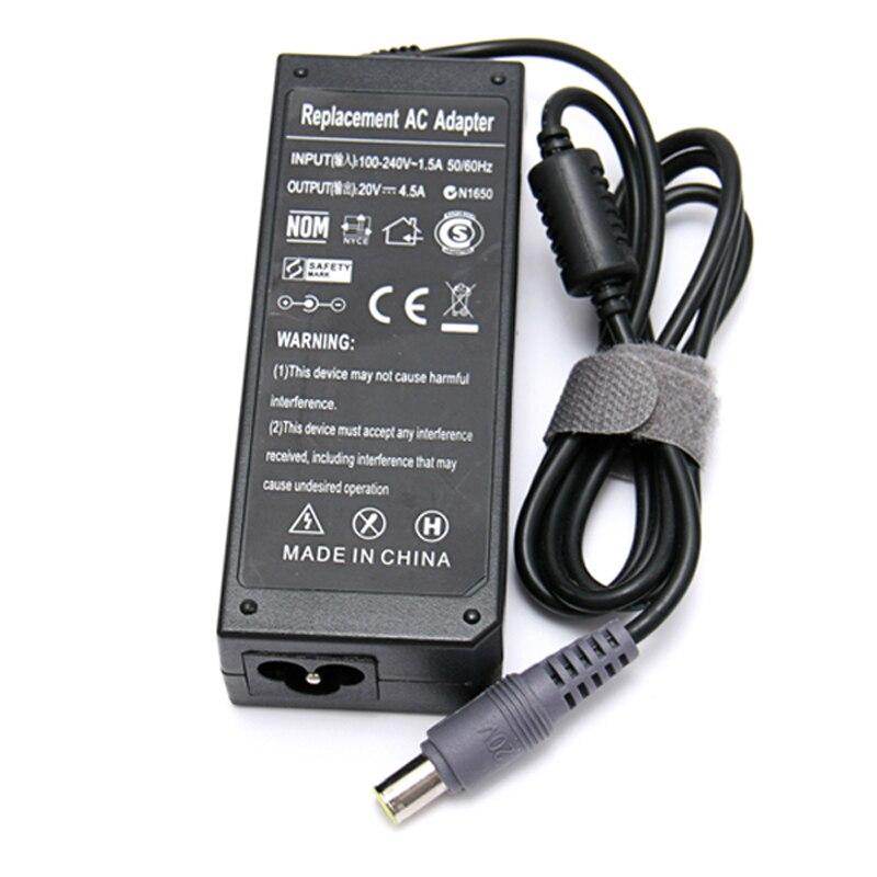 Бесплатная доставка! 20 в 4.5A 8 мм * 5,5 мм AC адаптер питания для ноутбука Зарядное устройство для Lenovo IBM Thinkpad R61 R61E T60 T61 X61 SL400 X200 T410
