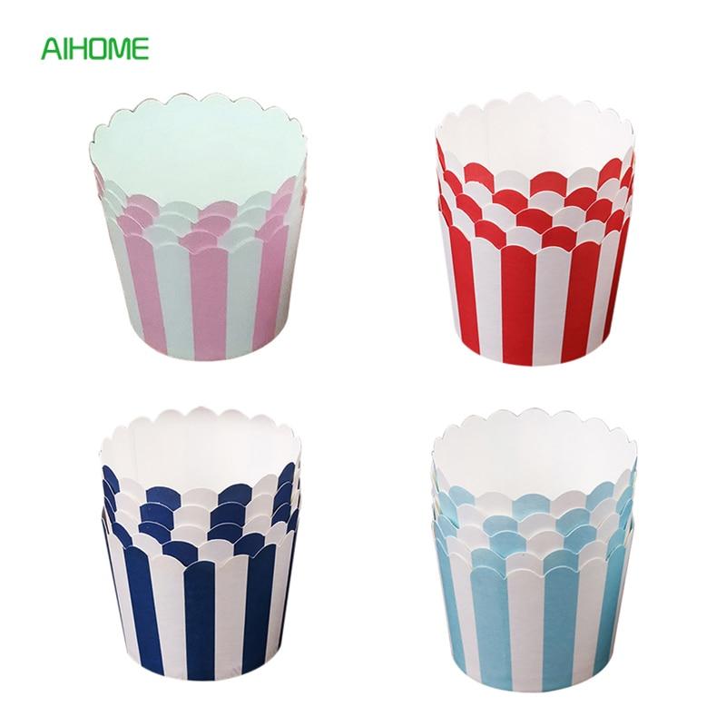 24 шт./лот бумажные вкладыши для капкейков выпечки чашки Маффин милые полосы свадебные капкейки десерт упаковочная коробка