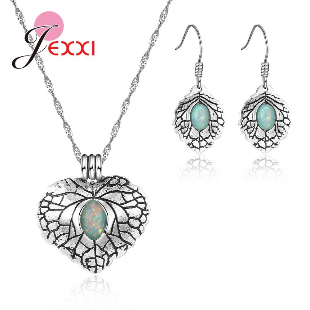 Nuevo antiguo verde piedras ópalo lleno genuino de Plata de Ley 925 collar con colgante de corazón de plata, pendientes de joyería de las mujeres conjuntos