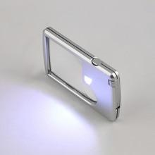 3X 6X Loupe carte de crédit oeil Loupe verre Microscope carré avec lumière LED étui en cuir pour bijoutier/verre de lecture