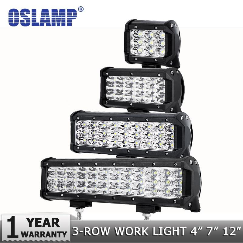 "Oslámpara 4 ""7"" 9 ""12"" barra de luces LED de 3 filas Offroad Spot/Flood/Combo haz Led luz de trabajo 12v 24v camión SUV ATV 4WD 4x4 barra Led"