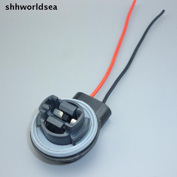 Shhworldsea 2/5/50/100 Uds. Enchufe de bombilla 3156 luz de freno de giro arnés de cable LED enchufe de cola de cerdo