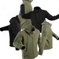 men tactical softshell hunting jacket outdoor sport hooded jacket polar fleece breathable keep warm hiking camping windbreaker