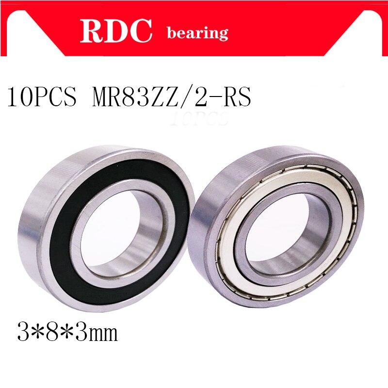 Frete grátis 10 pçs mr83zz rolamento mr83 2rs ABEC-5 rolamento 3*8*3mm miniatura mr83 zz rolamentos de esferas R-830 mr83 rolamento