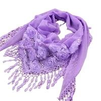 1pc new female women tassel shawls and scarves autumn women silk flower lace triangle pendant scarf fashion women scarf