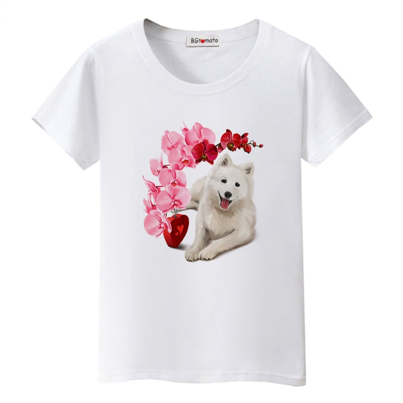 Bgtotomate hermosas flores precioso perro camiseta gran oferta mascota casa impresión camiseta lindos animales Camisetas Casuales
